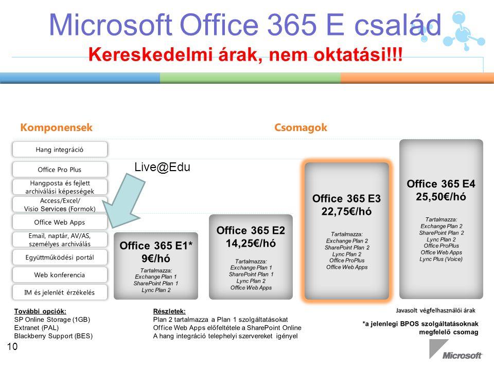Microsoft Office 365 E család Kereskedelmi árak, nem oktatási!!!