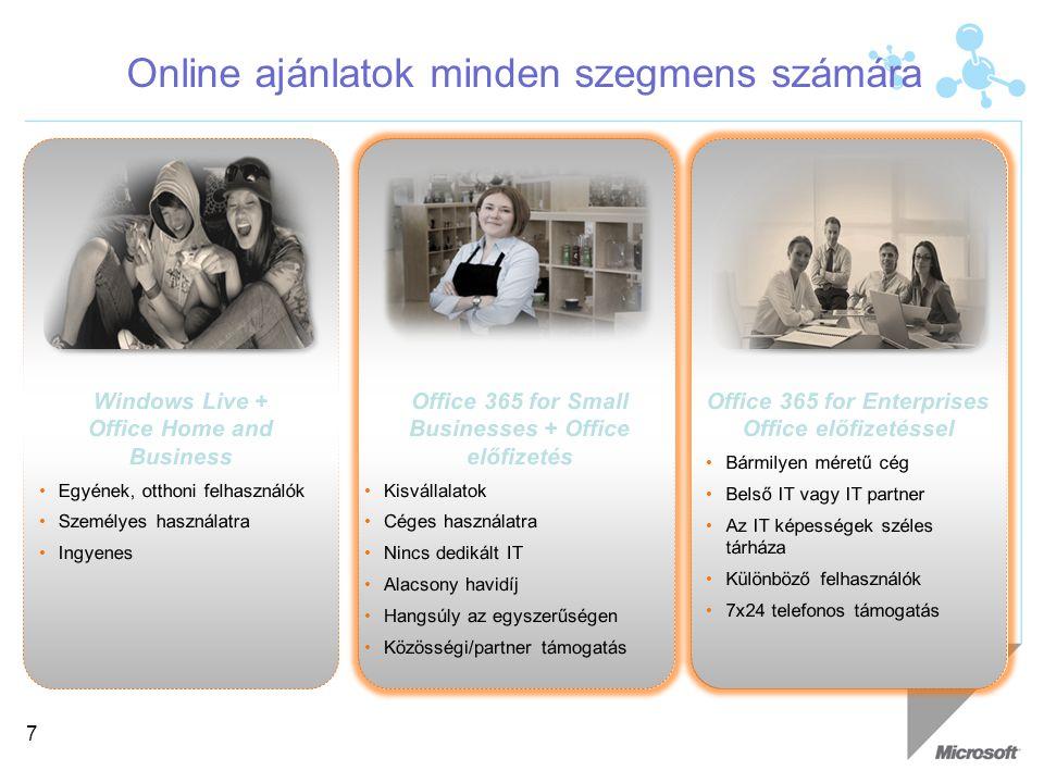 Online ajánlatok minden szegmens számára