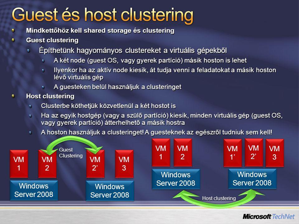 Guest és host clustering