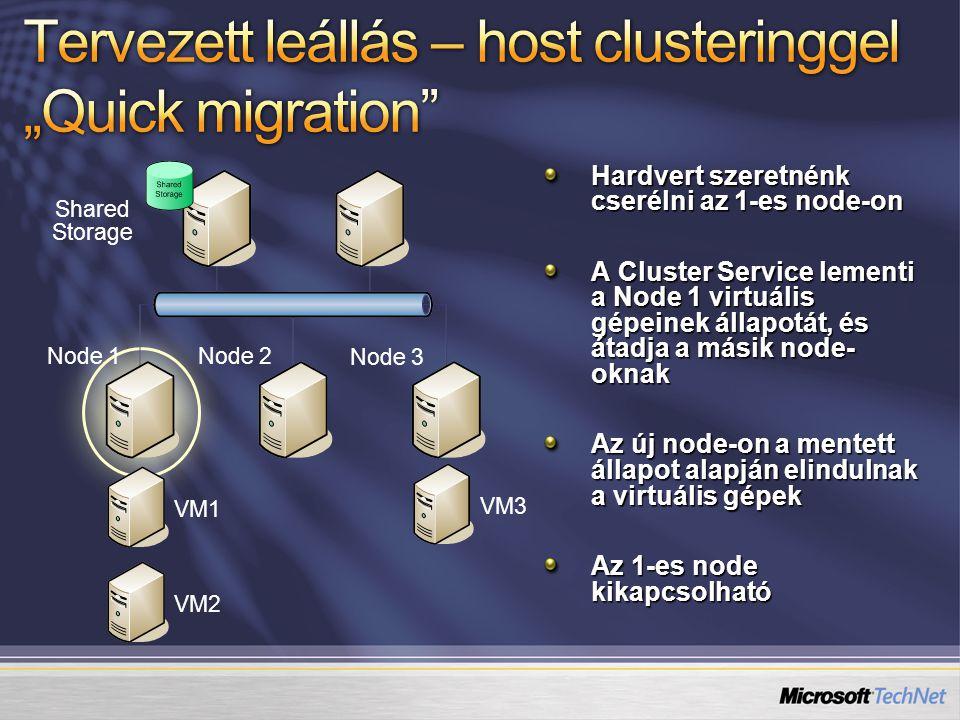 """Tervezett leállás – host clusteringgel """"Quick migration"""