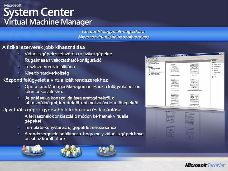 Központi felügyeleti megoldás a Microsot virtualizációs szoftvereihez