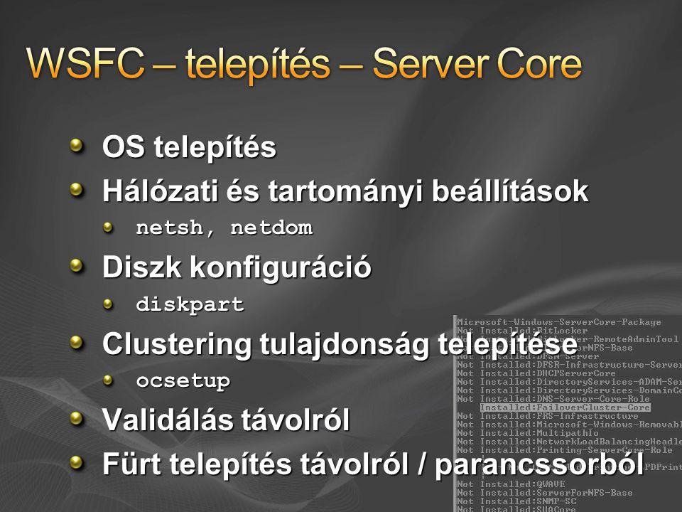 WSFC – telepítés – Server Core
