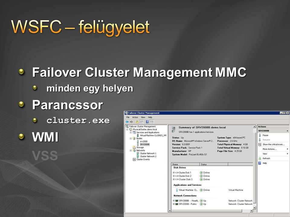WSFC – felügyelet Failover Cluster Management MMC Parancssor WMI VSS