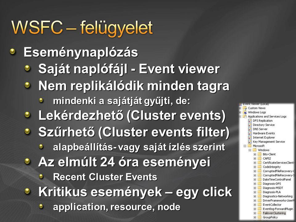 WSFC – felügyelet Eseménynaplózás Saját naplófájl - Event viewer