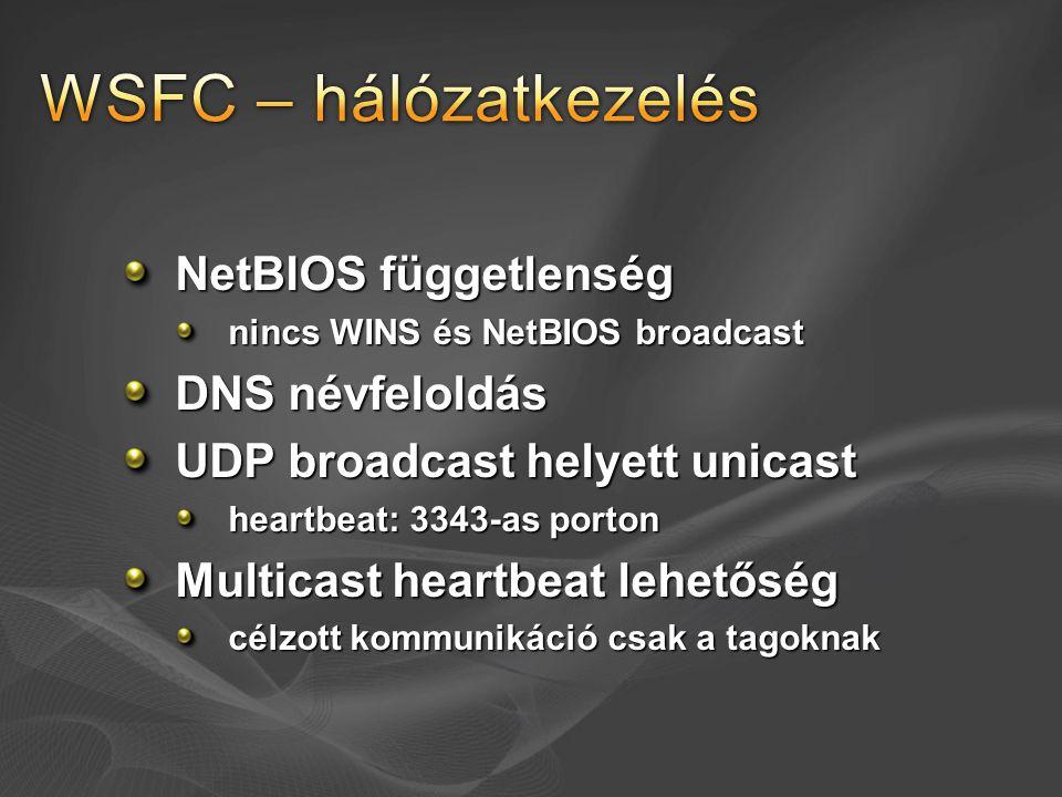 WSFC – hálózatkezelés NetBIOS függetlenség DNS névfeloldás