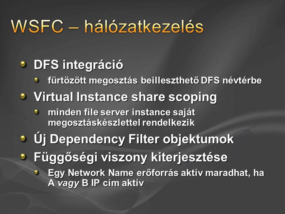 WSFC – hálózatkezelés DFS integráció Virtual Instance share scoping