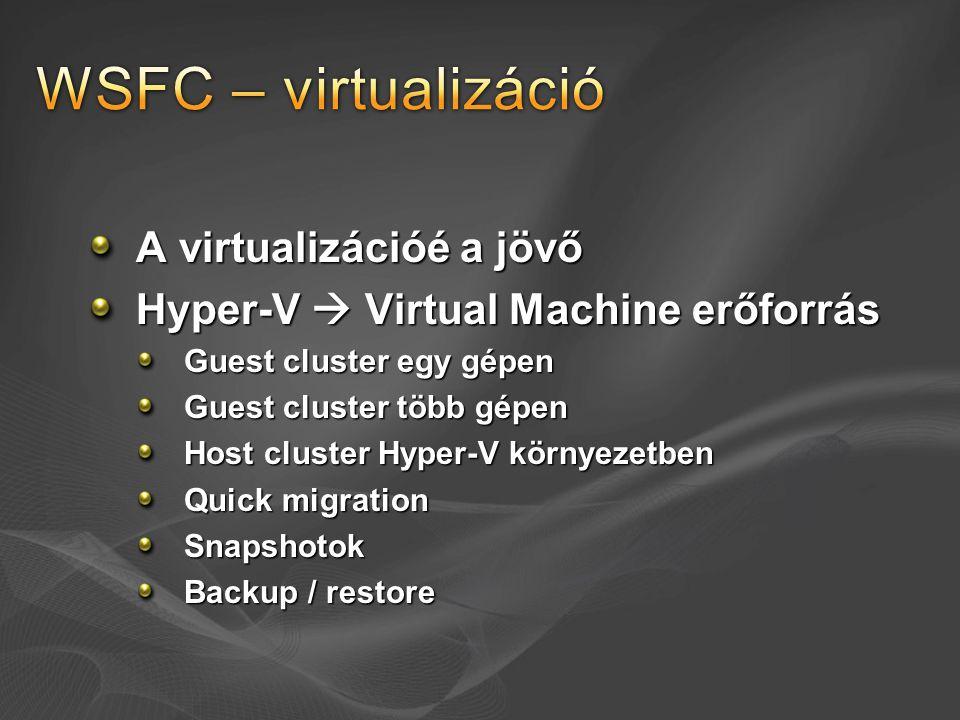 WSFC – virtualizáció A virtualizációé a jövő