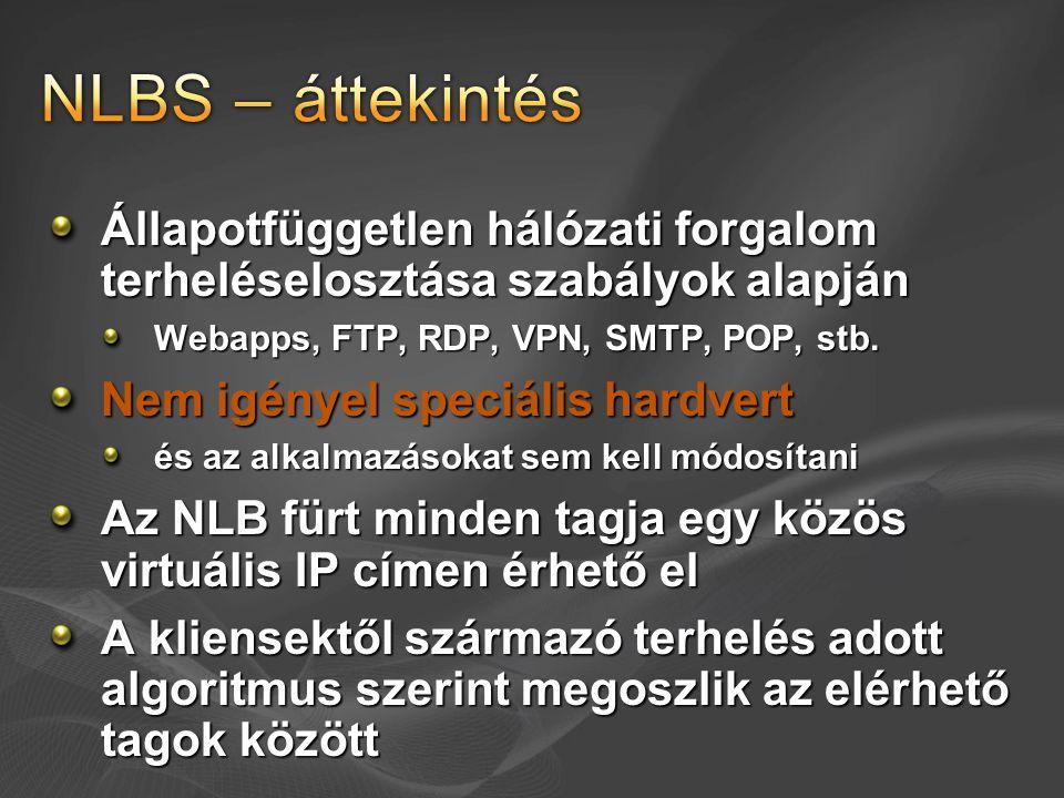 NLBS – áttekintés Állapotfüggetlen hálózati forgalom terheléselosztása szabályok alapján. Webapps, FTP, RDP, VPN, SMTP, POP, stb.