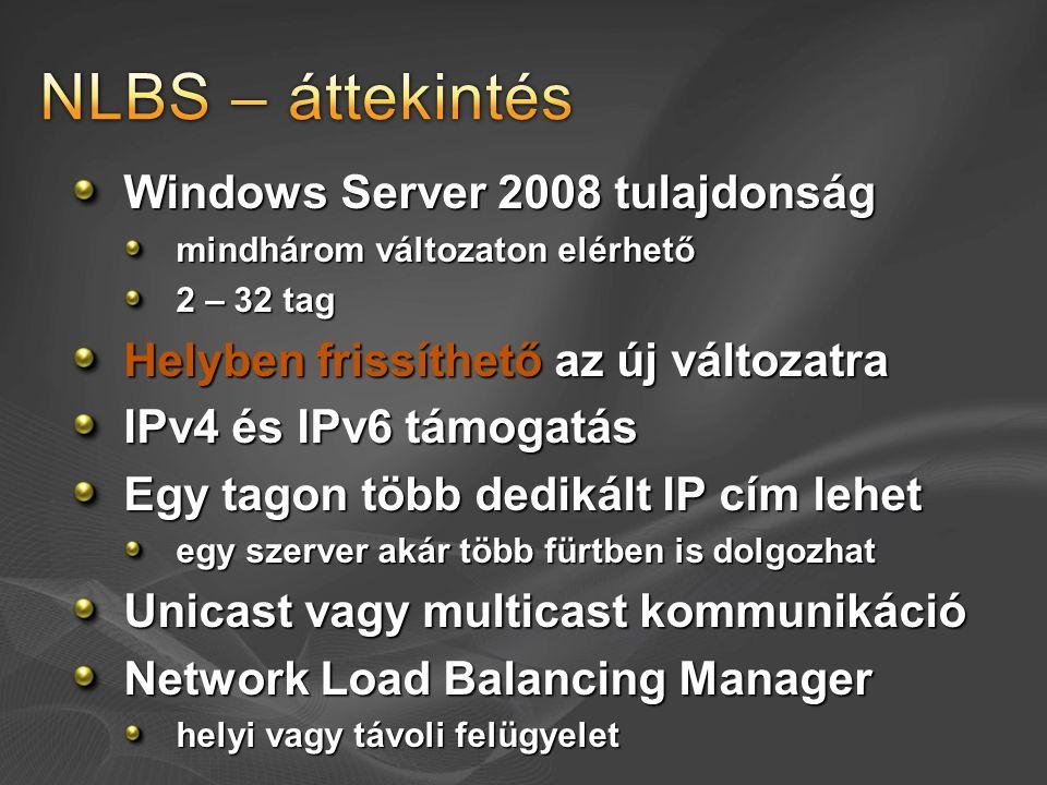NLBS – áttekintés Windows Server 2008 tulajdonság