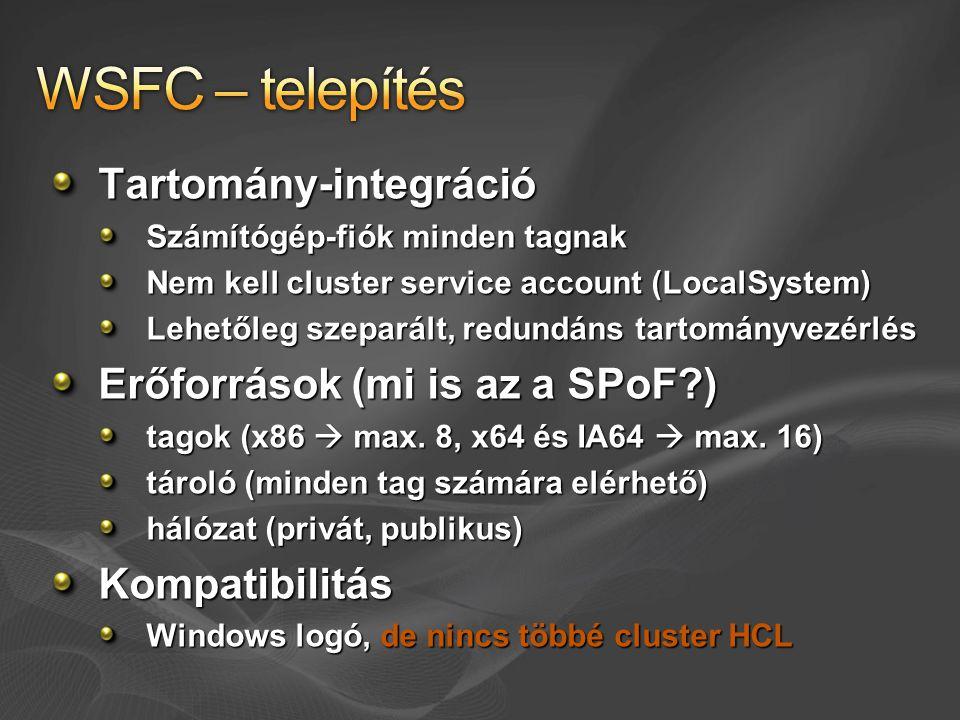 WSFC – telepítés Tartomány-integráció Erőforrások (mi is az a SPoF )