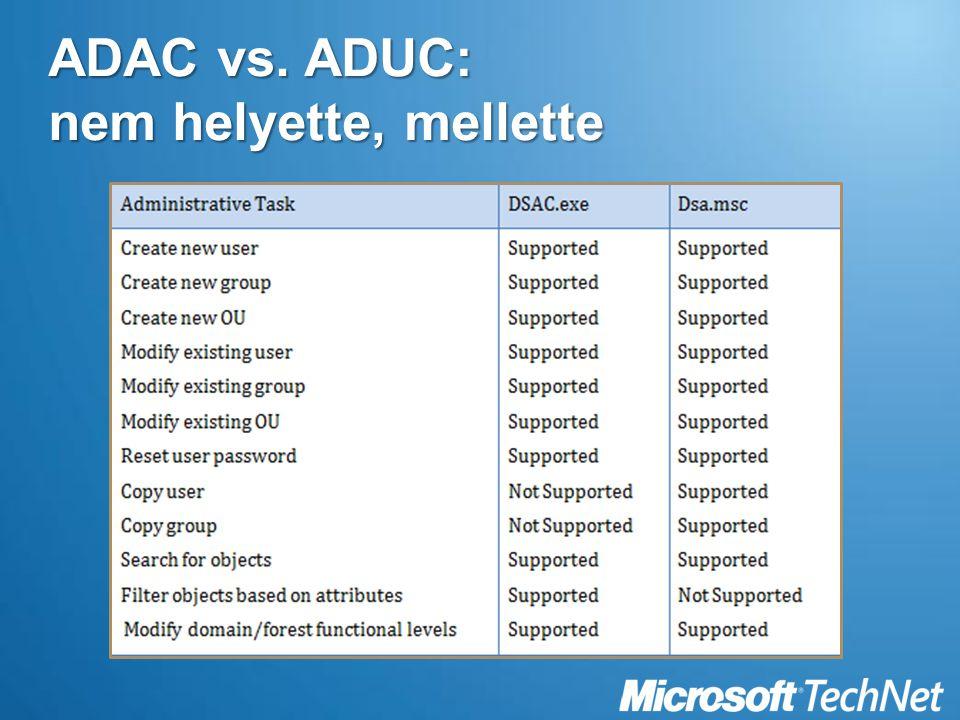 ADAC vs. ADUC: nem helyette, mellette