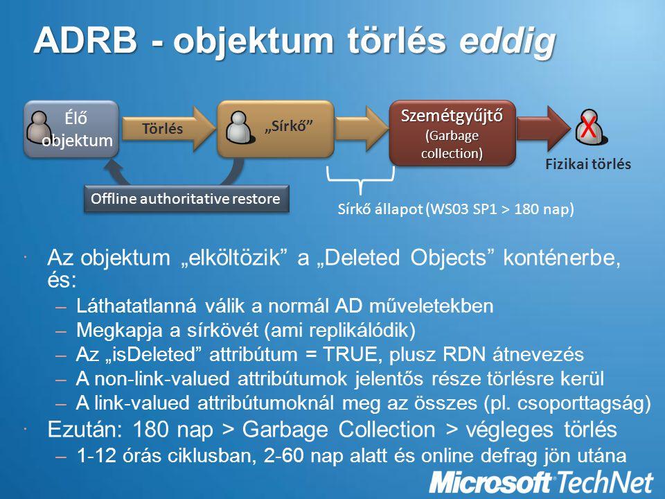 ADRB - objektum törlés eddig