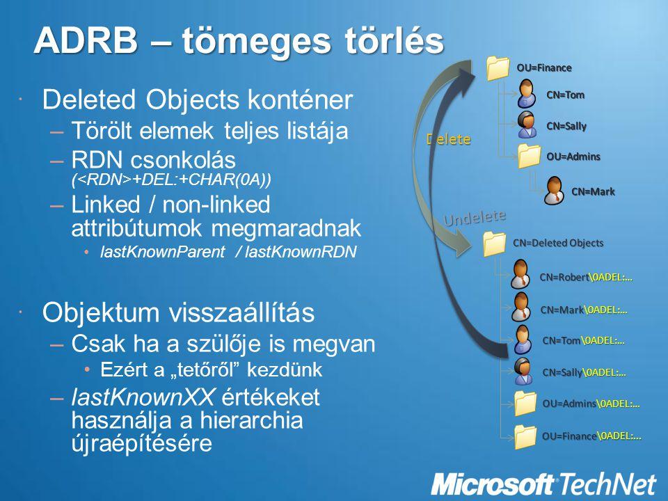 ADRB – tömeges törlés Deleted Objects konténer Objektum visszaállítás