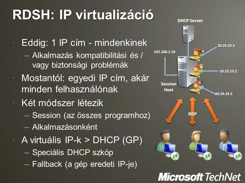 RDSH: IP virtualizáció