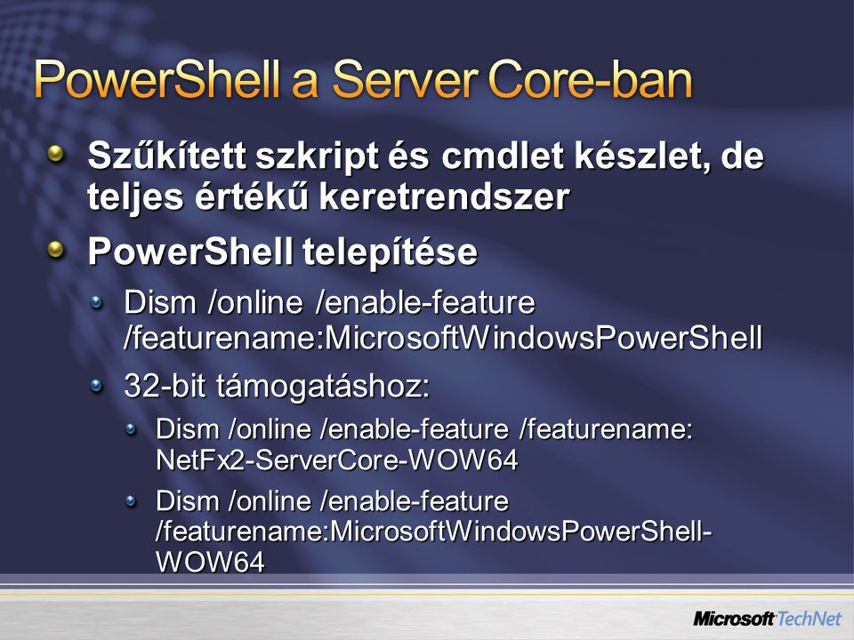PowerShell a Server Core-ban