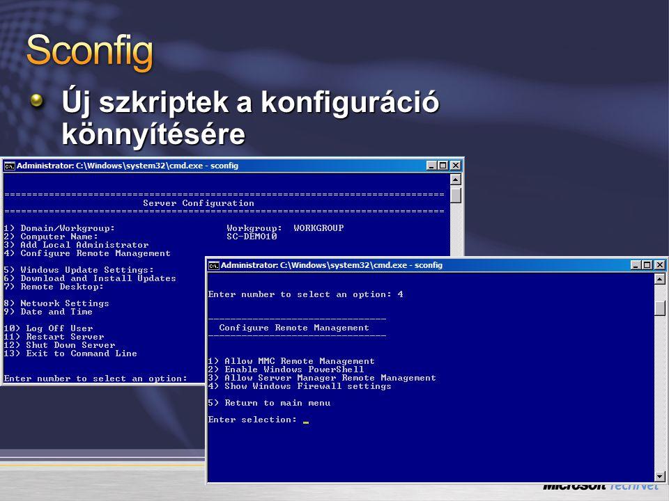 Sconfig Új szkriptek a konfiguráció könnyítésére