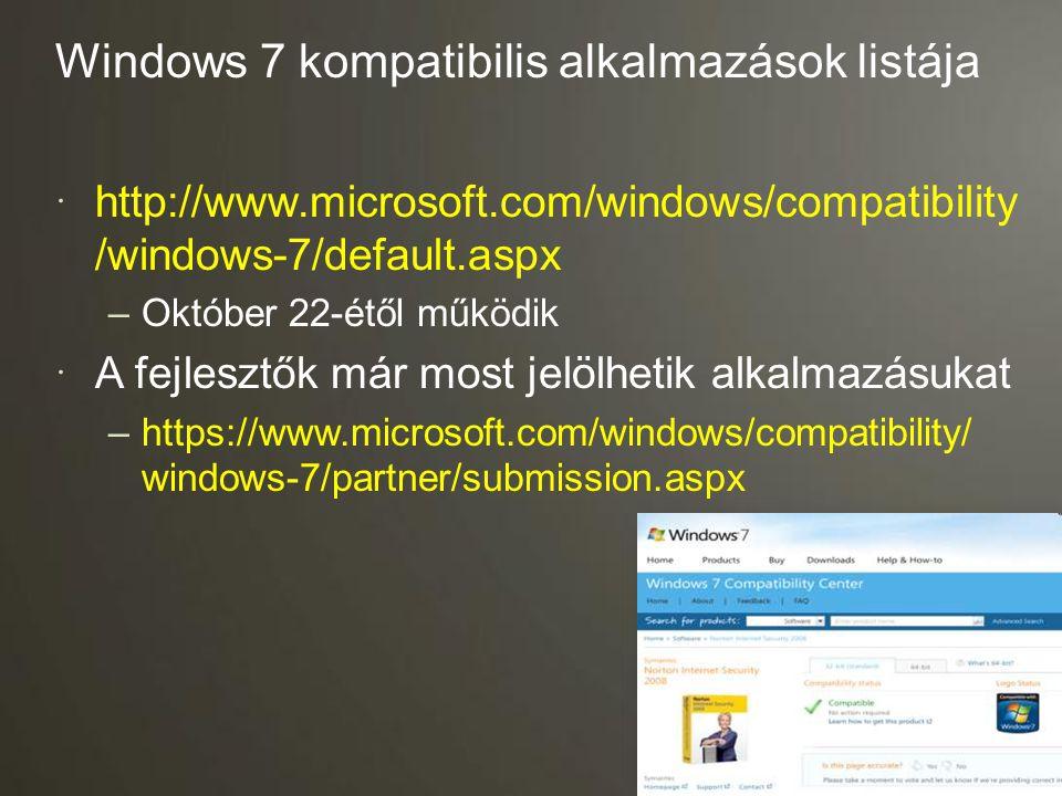 Windows 7 kompatibilis alkalmazások listája