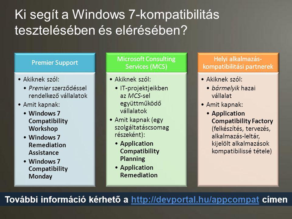 Ki segít a Windows 7-kompatibilitás tesztelésében és elérésében
