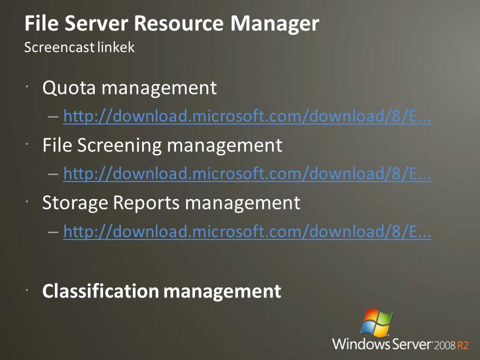 File Server Resource Manager Screencast linkek