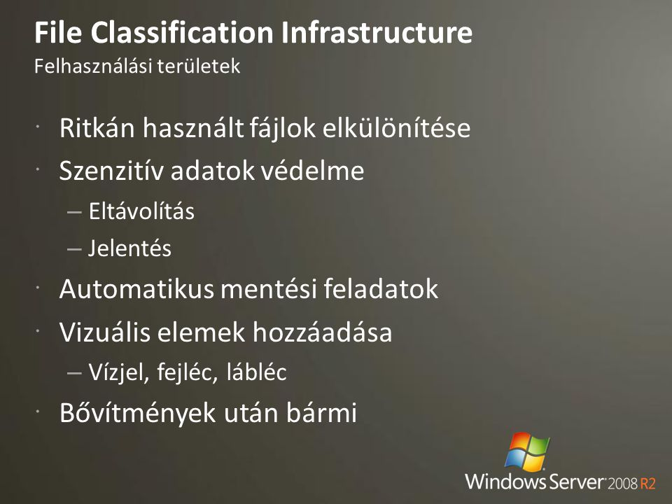 File Classification Infrastructure Felhasználási területek