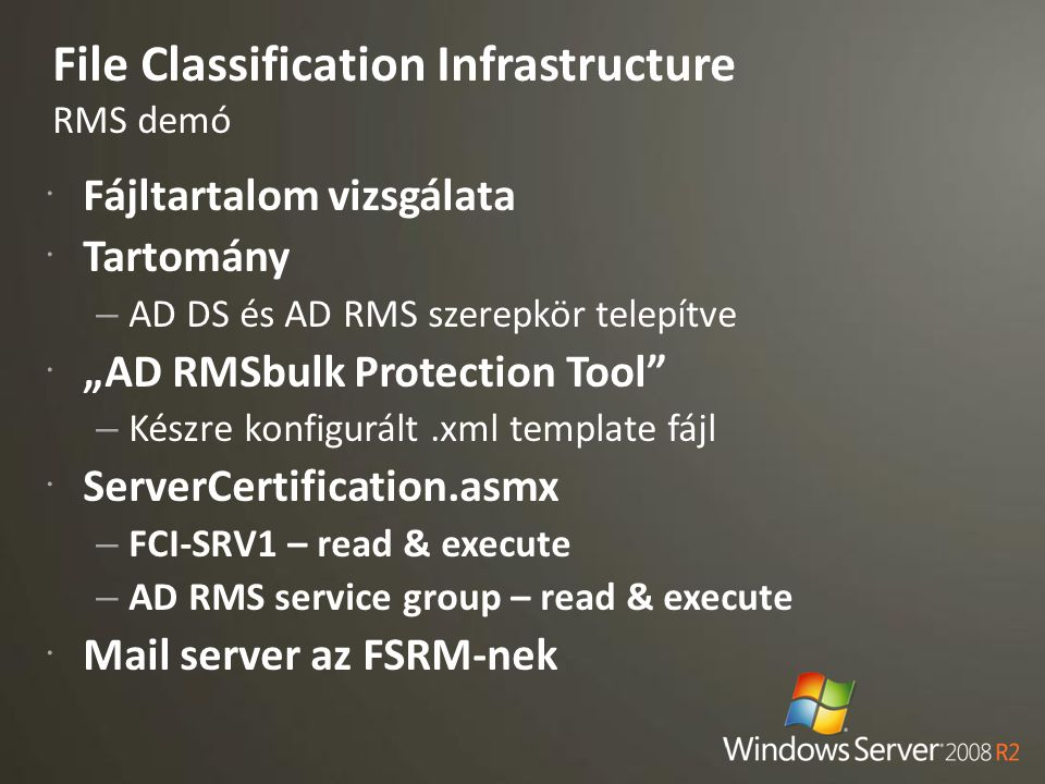 File Classification Infrastructure RMS demó