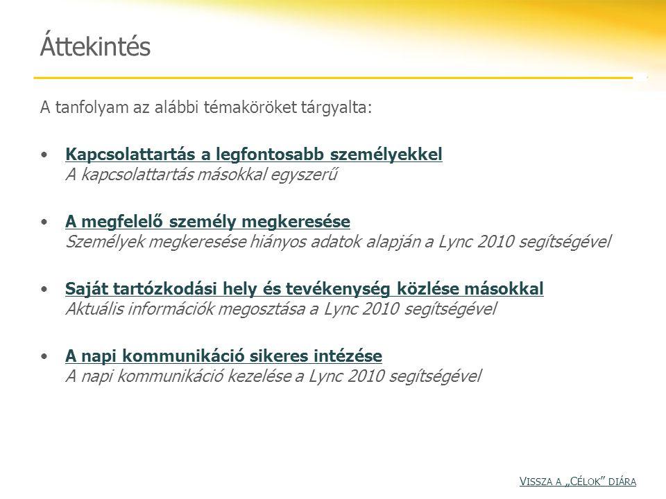 Áttekintés A tanfolyam az alábbi témaköröket tárgyalta: