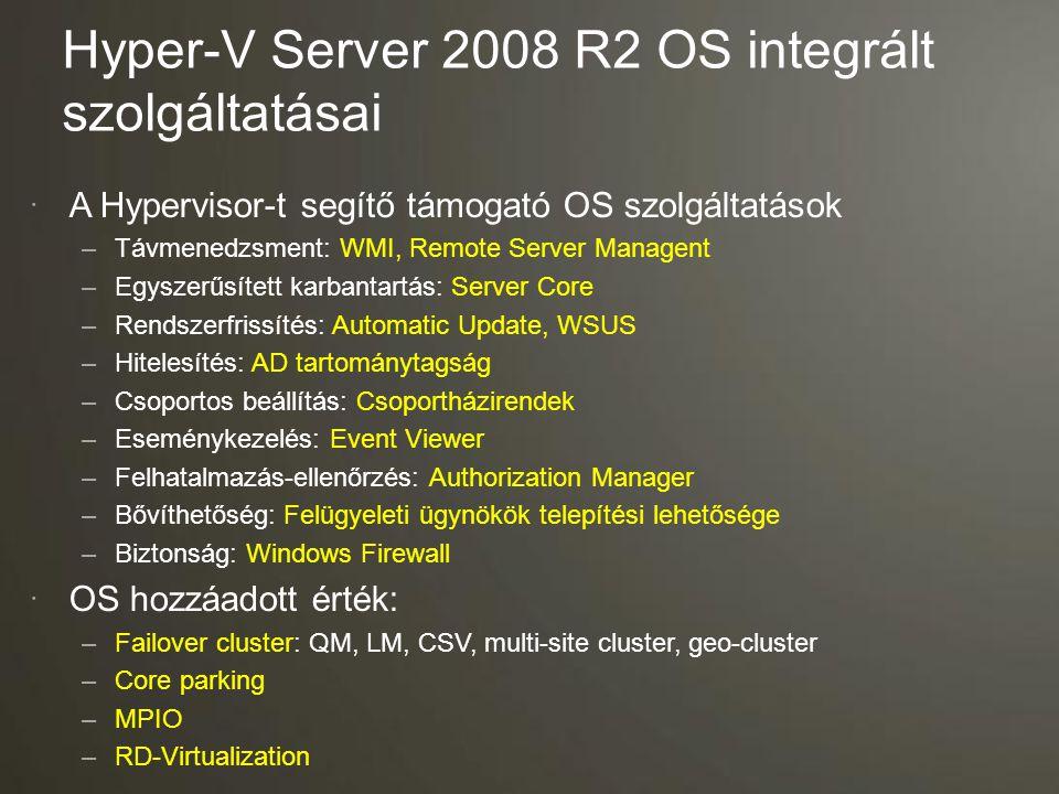 Hyper-V Server 2008 R2 OS integrált szolgáltatásai