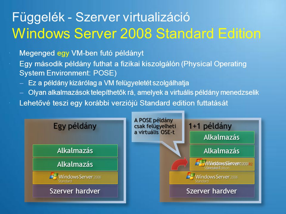 Függelék - Szerver virtualizáció Windows Server 2008 Standard Edition