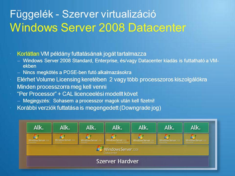 Függelék - Szerver virtualizáció Windows Server 2008 Datacenter