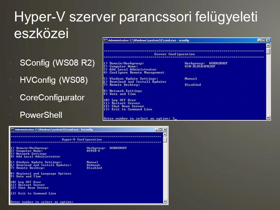 Hyper-V szerver parancssori felügyeleti eszközei