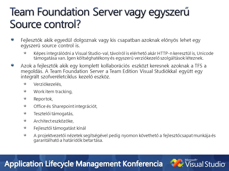 Team Foundation Server vagy egyszerű Source control