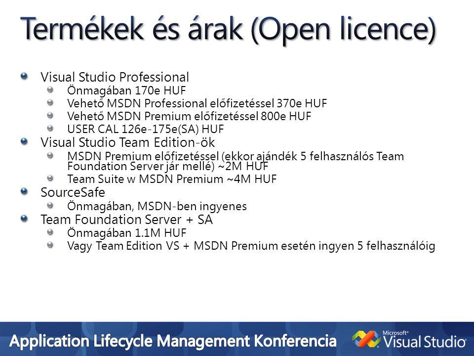 Termékek és árak (Open licence)