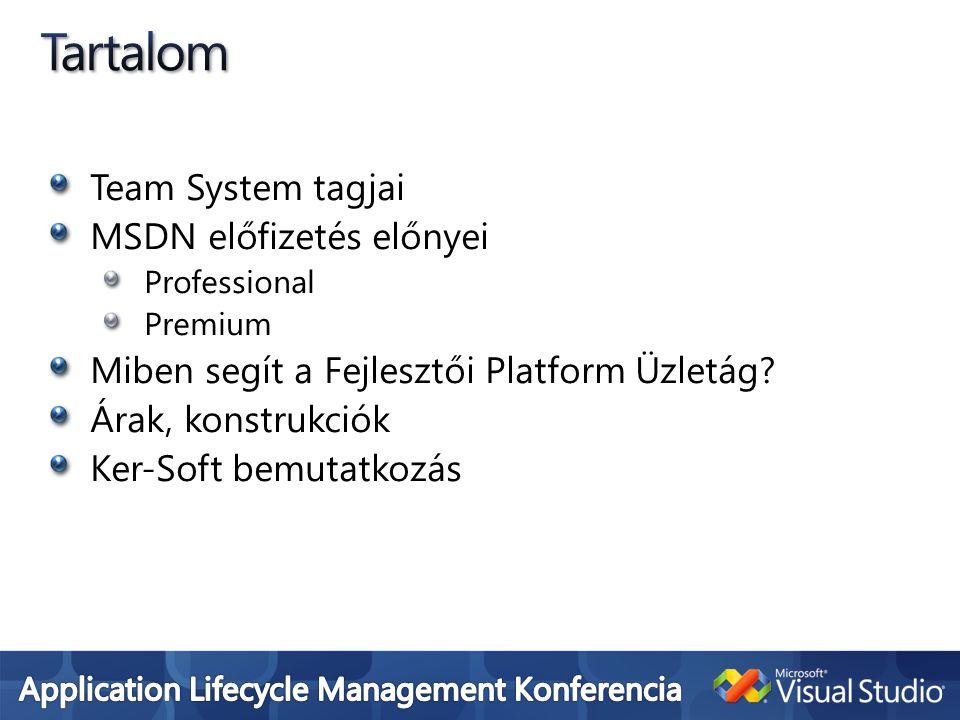 Tartalom Team System tagjai MSDN előfizetés előnyei