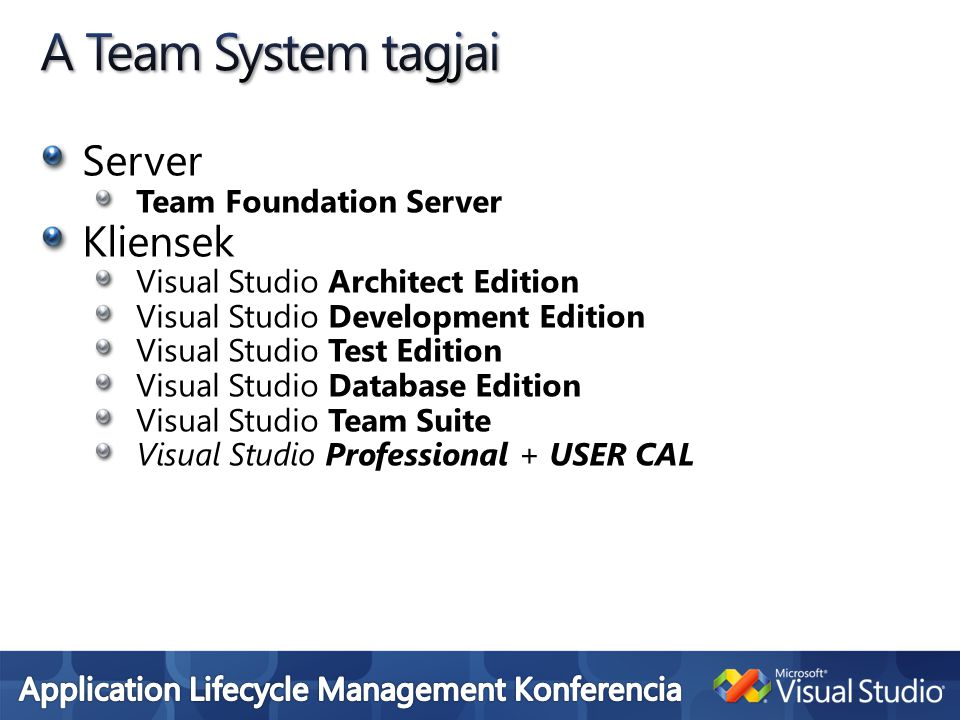 A Team System tagjai Server Kliensek Team Foundation Server