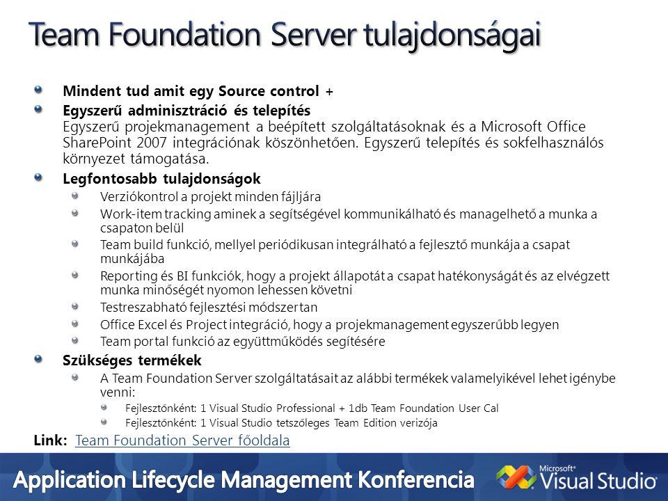 Team Foundation Server tulajdonságai