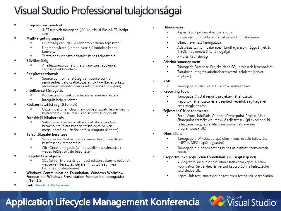 Visual Studio Professional tulajdonságai