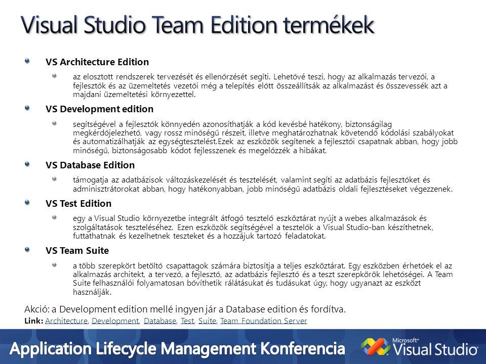 Visual Studio Team Edition termékek