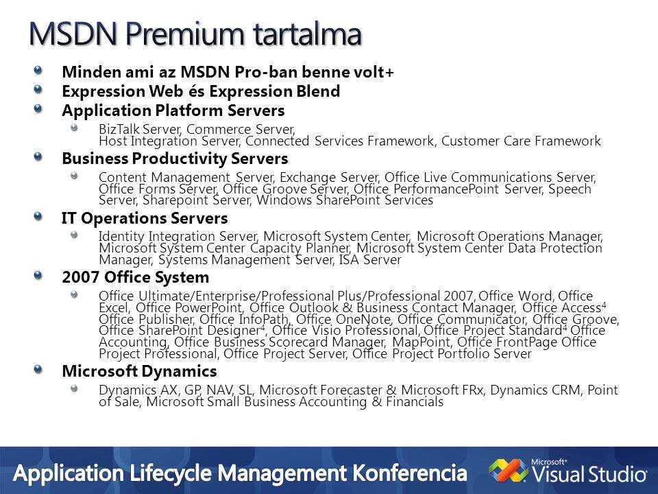 MSDN Premium tartalma Minden ami az MSDN Pro-ban benne volt+