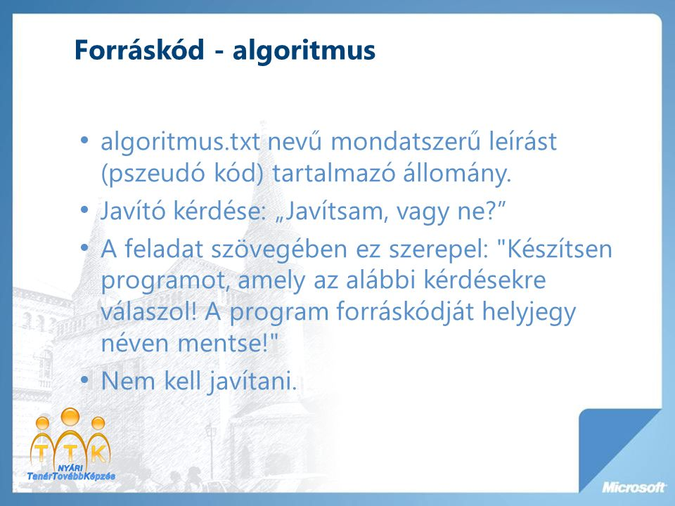 Forráskód - algoritmus