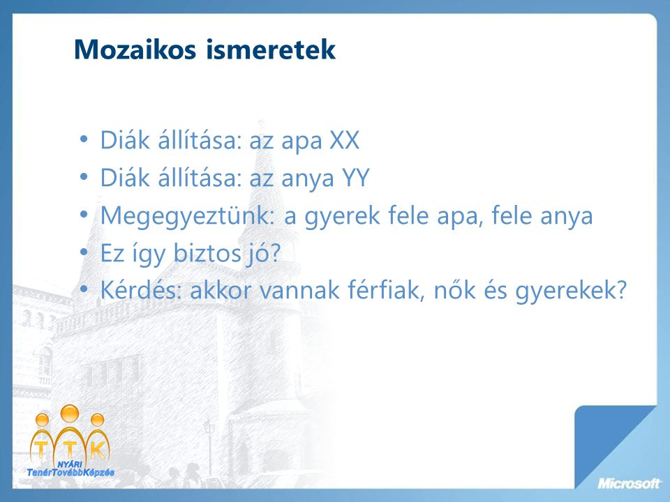 Mozaikos ismeretek Diák állítása: az apa XX Diák állítása: az anya YY
