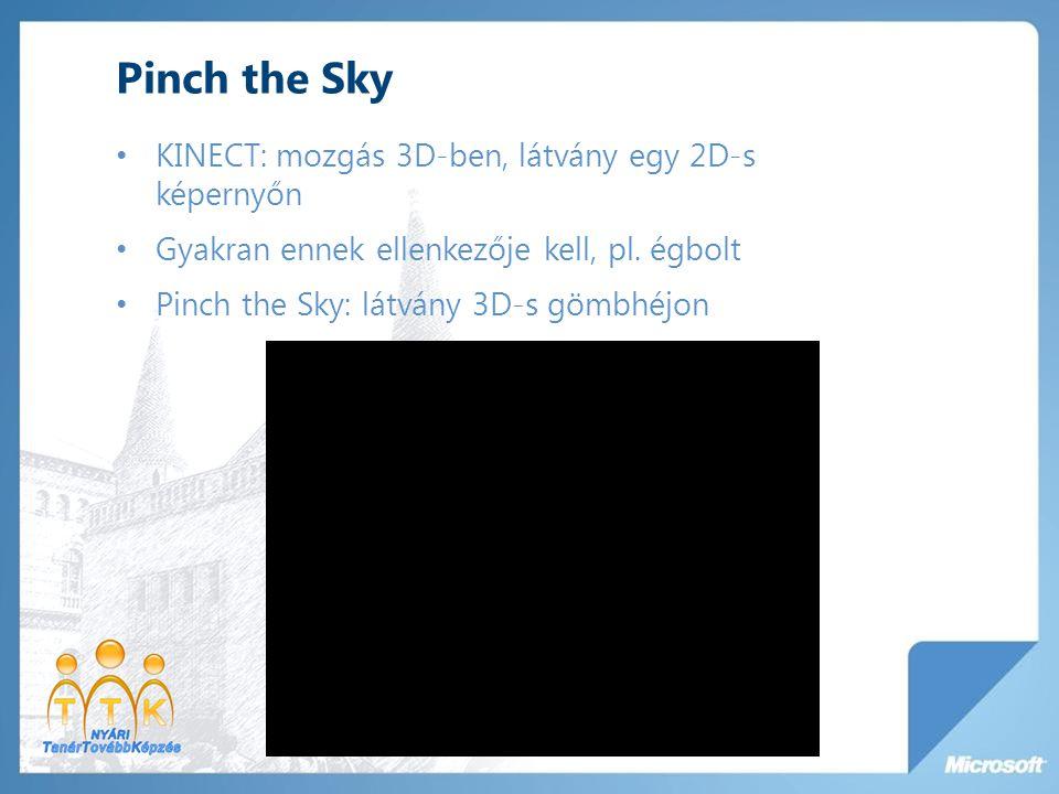 Pinch the Sky KINECT: mozgás 3D-ben, látvány egy 2D-s képernyőn