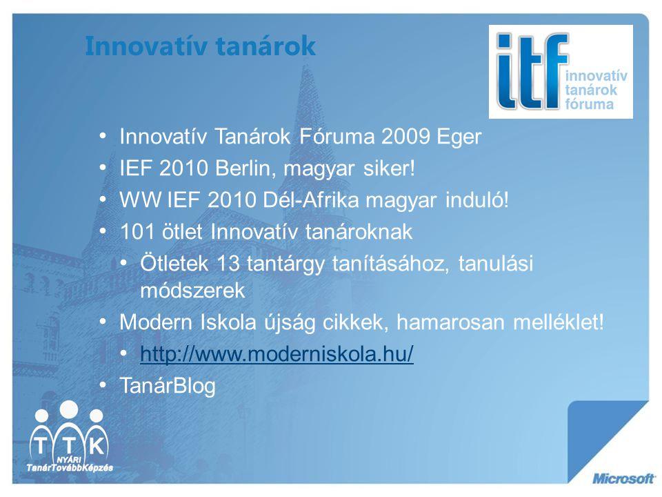 Innovatív tanárok Innovatív Tanárok Fóruma 2009 Eger