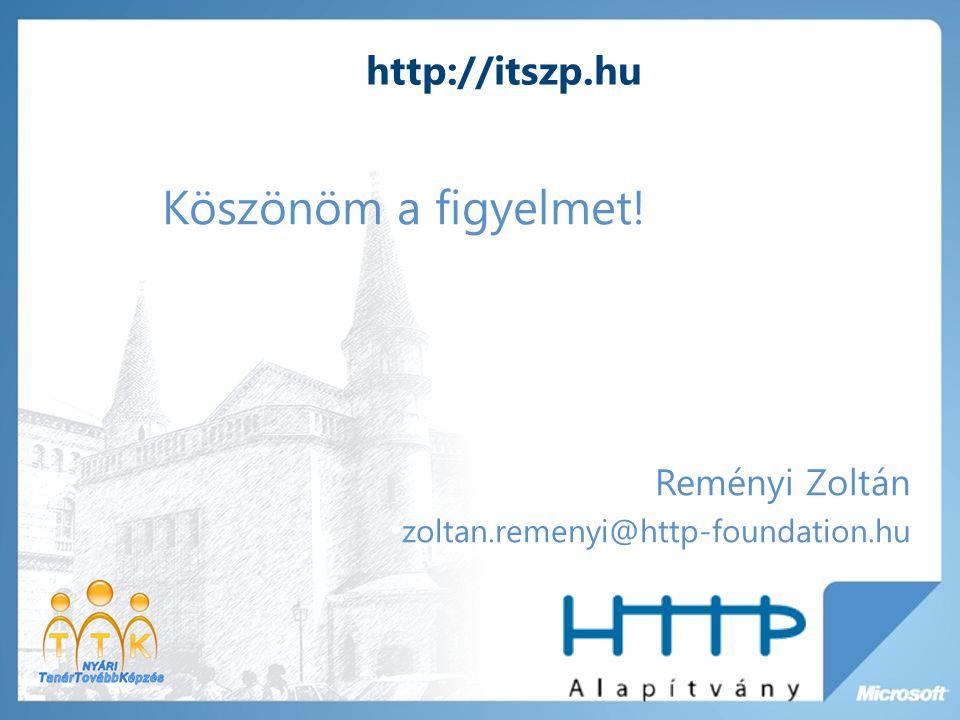 Köszönöm a figyelmet! http://itszp.hu Reményi Zoltán