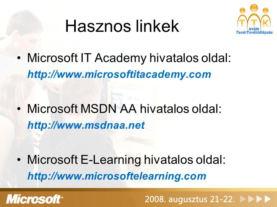 Hasznos linkek Microsoft IT Academy hivatalos oldal: