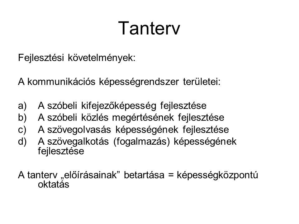 Tanterv Fejlesztési követelmények: