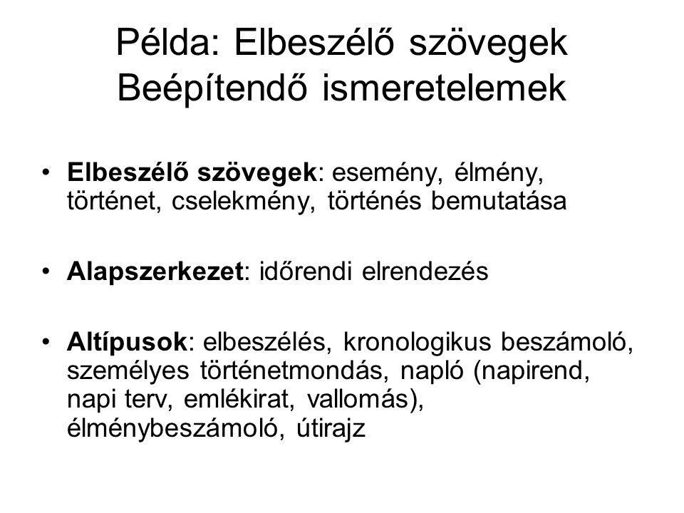 Példa: Elbeszélő szövegek Beépítendő ismeretelemek
