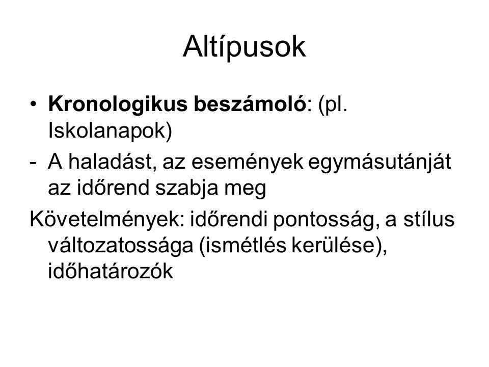 Altípusok Kronologikus beszámoló: (pl. Iskolanapok)