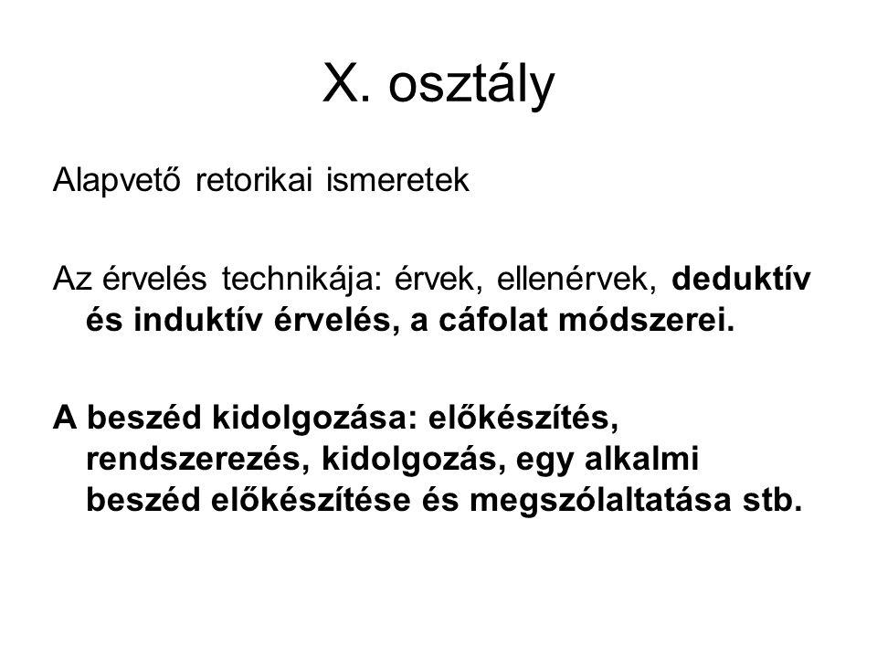 X. osztály Alapvető retorikai ismeretek