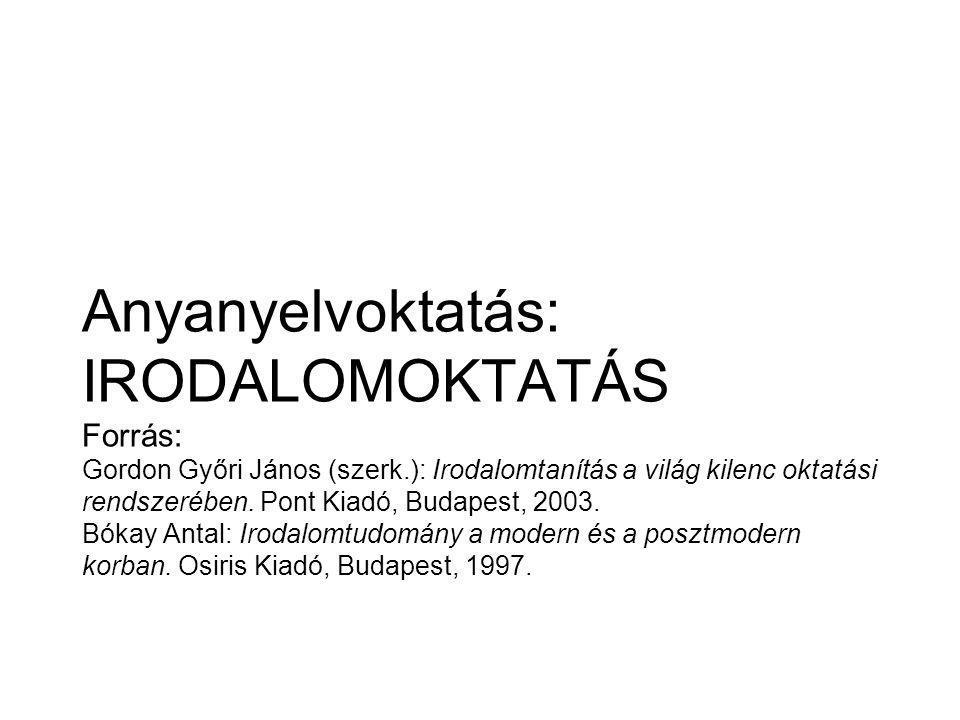 Anyanyelvoktatás: IRODALOMOKTATÁS Forrás: Gordon Győri János (szerk