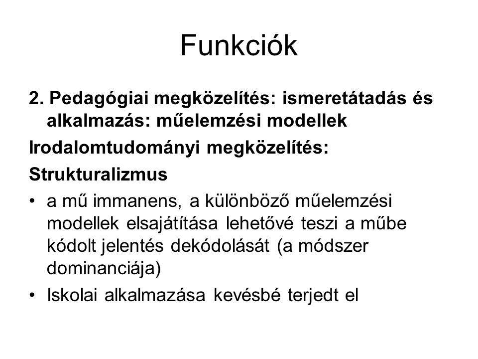 Funkciók 2. Pedagógiai megközelítés: ismeretátadás és alkalmazás: műelemzési modellek. Irodalomtudományi megközelítés: